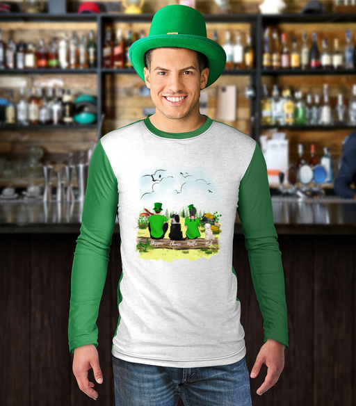 Happy St Patrick's Day Man Woman & Dogs Customize Long Sleeve Shirt
