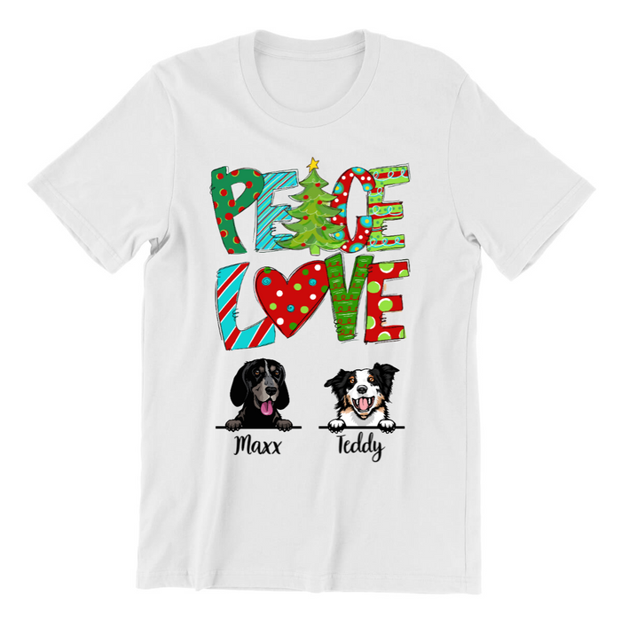 Personalized Shirt - Peace Love Dogs Custom Gift For Christmas
