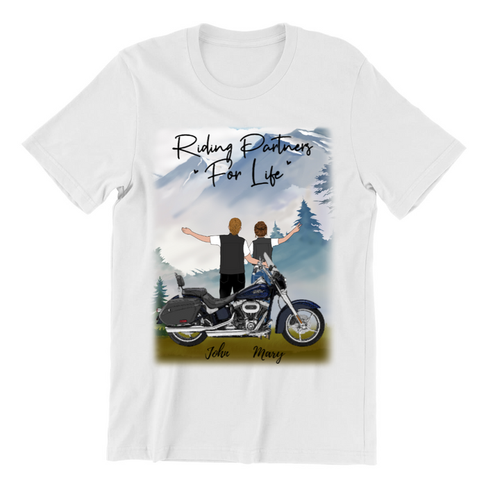 Custom Biker Riding Partners For Life Personalized Shirt Gift For Motorcycle Lovers