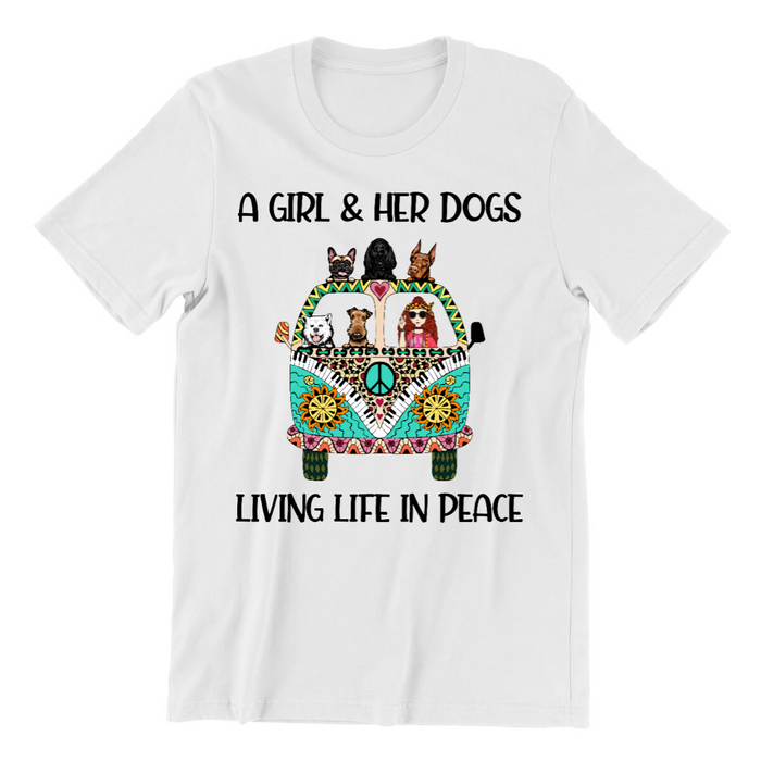 Personalized Shirt - A Hippie Girl And Her Dogs Custom Gift For Boho Dog Lovers