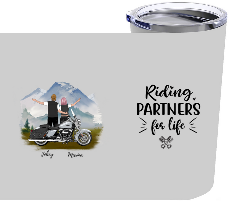 Personalized Tumbler 20oz - Riding Partners With A Motorbike Gift For Motorcycle Lovers