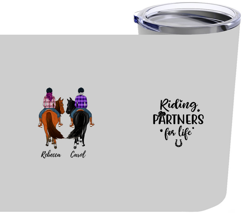 Personalized Tumbler - Riding Partners For Life For Horse Lovers