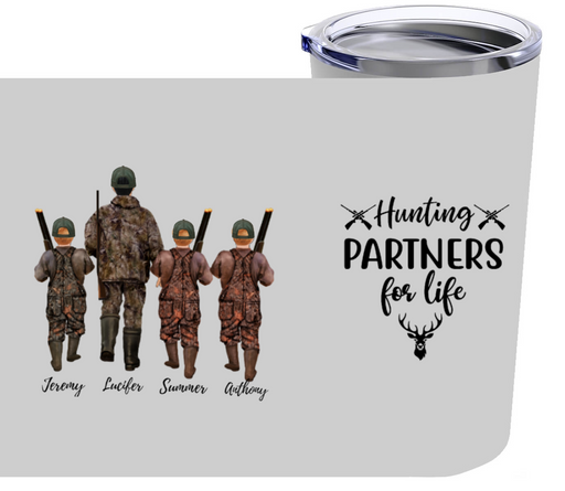 Personalized Tumblers - Hunting Partners 1 Adults & 3 Kids