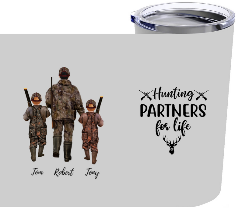 Hunting Partners Dad & Two Kids Customized Tumbler 20oz