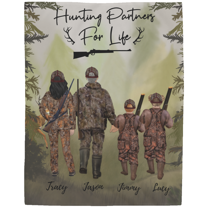 Custom Hunting Family 2 Adults & 2 Kids Fleece Blanket personalized gift
