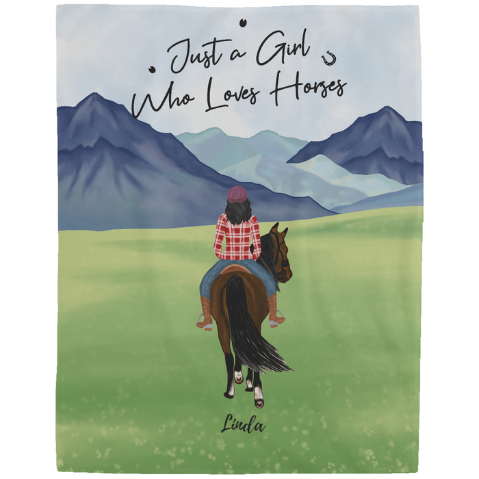 Personalized Blanket - Just a Girl Who Loves Horses