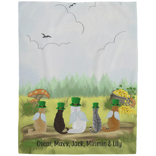 Personalized Fleece Blanket - Up to Five Cats Happy St Patrick's Day For Cat Lovers