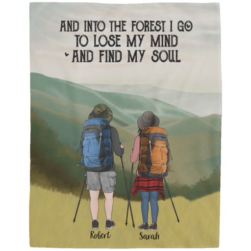 Personalized Blanket, Hiking Couple, Friends Partners Gift for Hiking Lovers