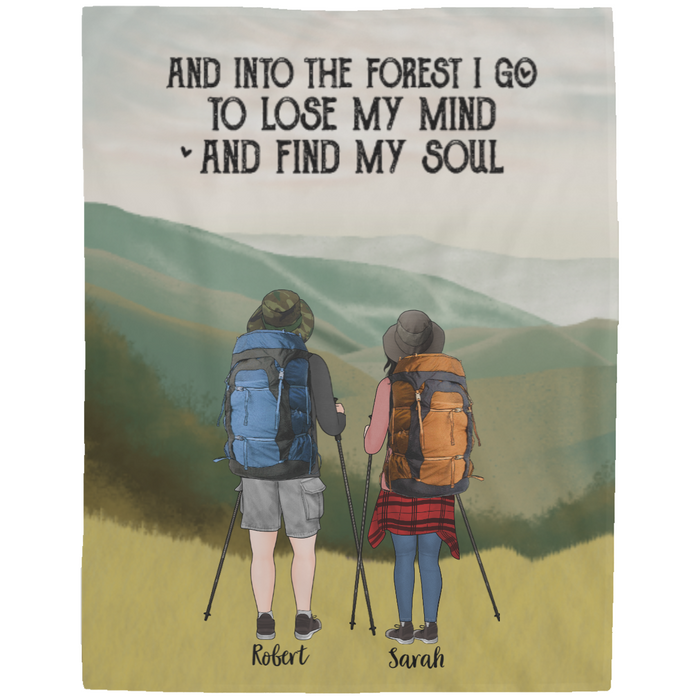 Personalized Fleece Blanket - Hiking Couple And Friends Partners For Hiking Lovers