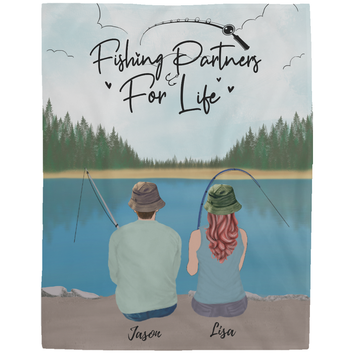 Personalized Blanket - Fishing Partners For Life - Fleece Blanket for Couple