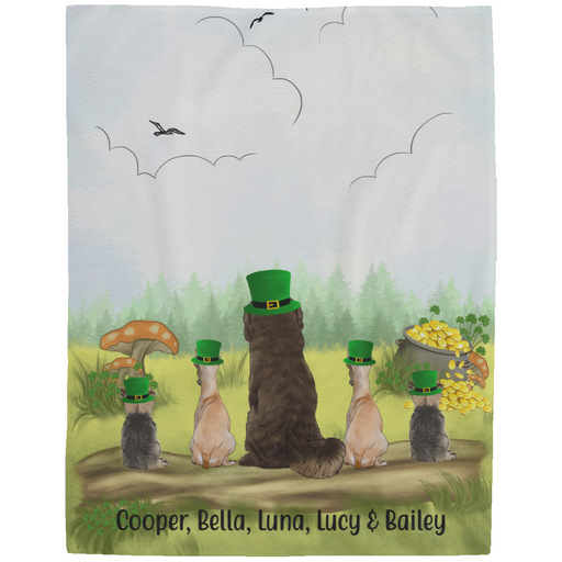 Personalized Fleece Blanket - Up to Five Dogs Happy St Patrick's Day For Dog Lovers