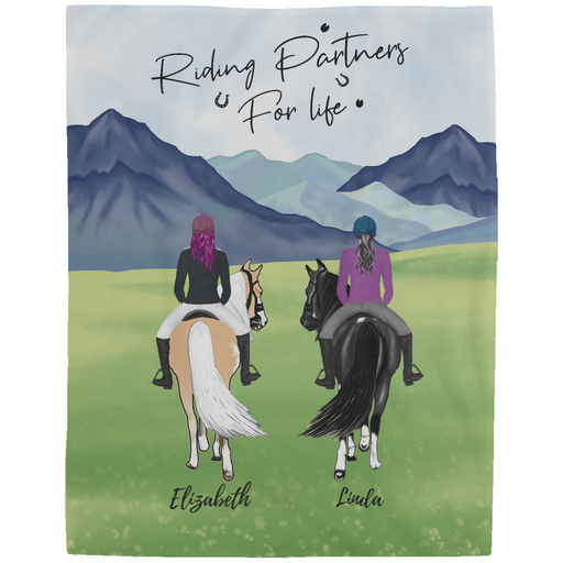 Custom Riding Partners Fleece Blanket Personalized Gift For Horse Lovers