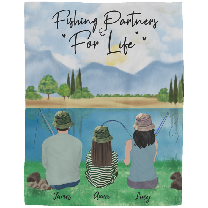 Custom Fishing Partners 2 Adults & 1 Kid Fleece Blanket personalized gift