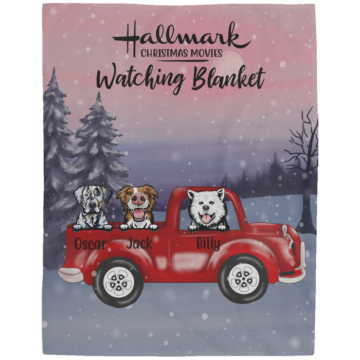 Personalized Fleece Blanket - Dogs On Red Truck Christmas Custom Gift For Dog Lovers