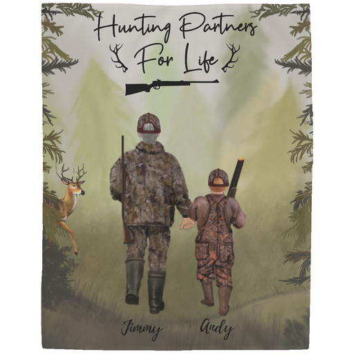 Custom Hunting Family 1 Adult & 1 Kid Fleece Blanket personalized gift