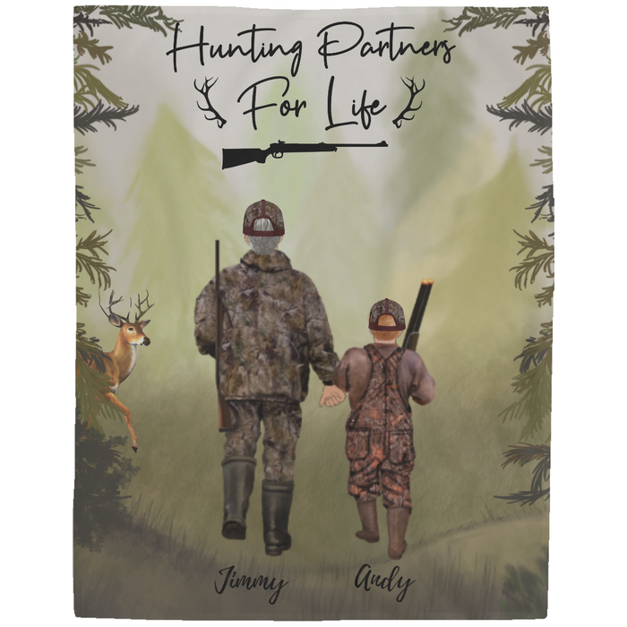 Custom Hunting Family 1 Adult and 1 Kid Fleece Blanket Personalized Gift