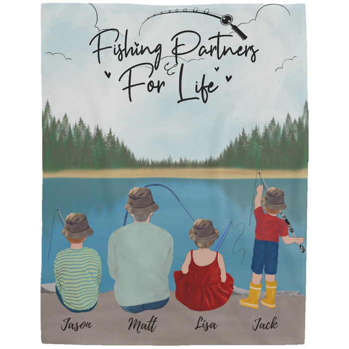 Custom Fishing Family 1 Adult and 3 Kids Fleece Blanket Personalized Gift