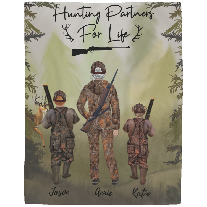 Custom Hunting 1 Adult & 2 Kids Fleece Blanket personalized gift