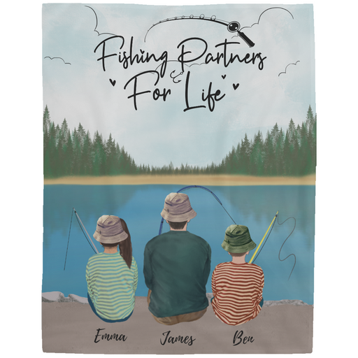 Personalized Blanket - Fishing Partners for Life - Family Fleece Blanket