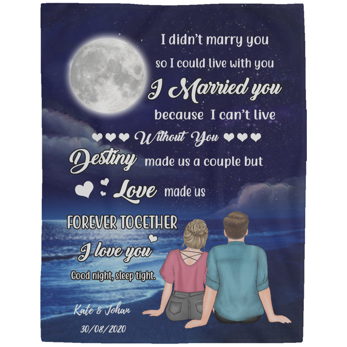 Personalized Fleece Blanket - Couple On The Beach At Night Gift For Husband Wife