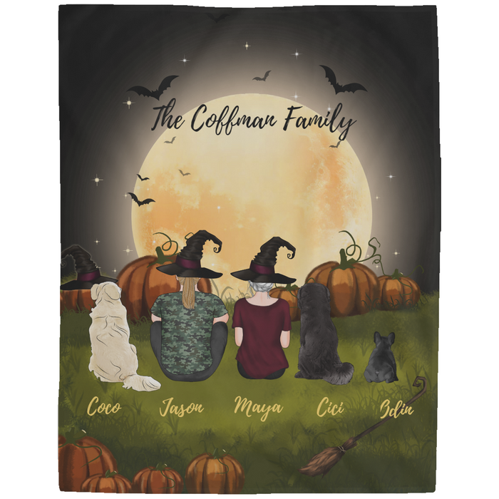 Custom Halloween Couple Fleece Blanket Personalized gift for Dog Lovers