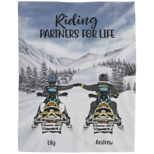 Personalized Blanket - Snowmobiling Partners Custom Gifts For Snowmobile Lovers