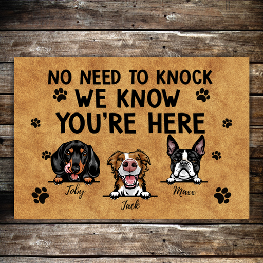 Personalized Doormat, No Need To Knock, Up to 3 Dogs