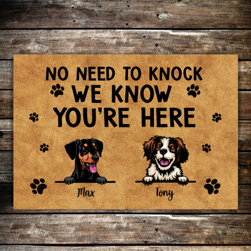 Personalized Doormat, No Need To Knock Funny Custom Gift For Dogs Lovers