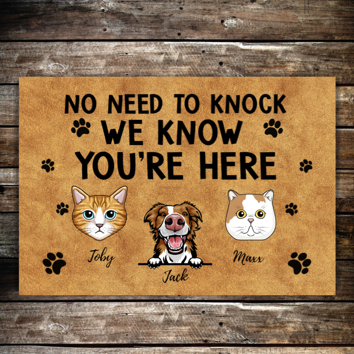Personalized Doormat - No Need To Knock - Cats and Dog