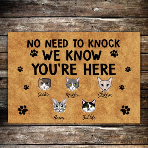 Personalized Doormat - No Need To Knock for Cat Lovers