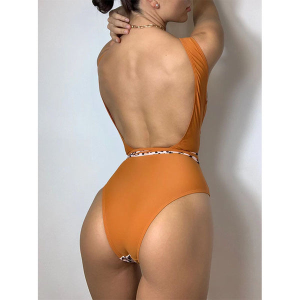 LEOPARD ORANGE CONTRAST LACE FRONT ONE-PIECE SWIMSUIT