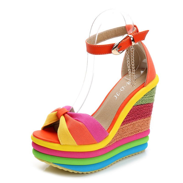 MARIE ORANGE ESPADRILLE WEDGE HEEL SANDALS