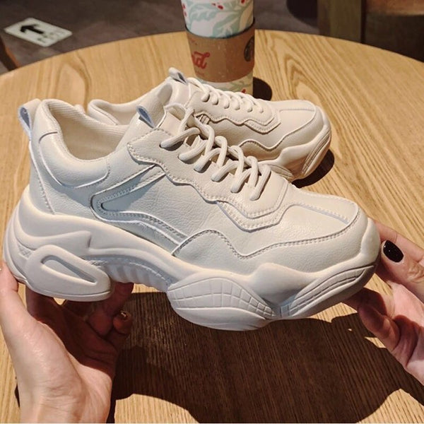 LACE UP FRONT WIDE FIT CHUNKY SOLE SNEAKERS
