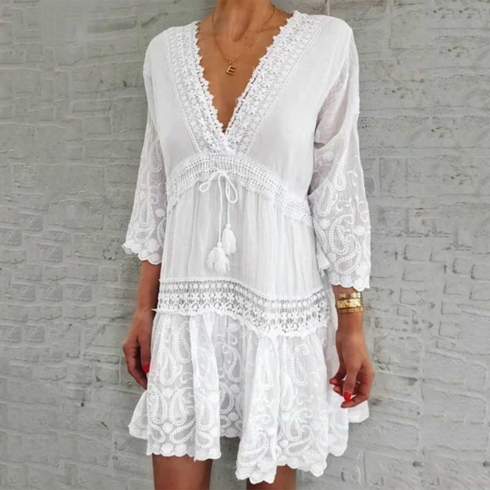 TIE FRONT V NECK BEACH DRESS