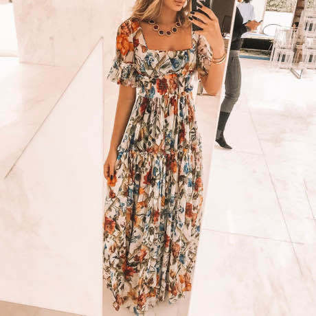 RUFFLES SQUARE NECK FLORAL PRINT MAXI DRESS