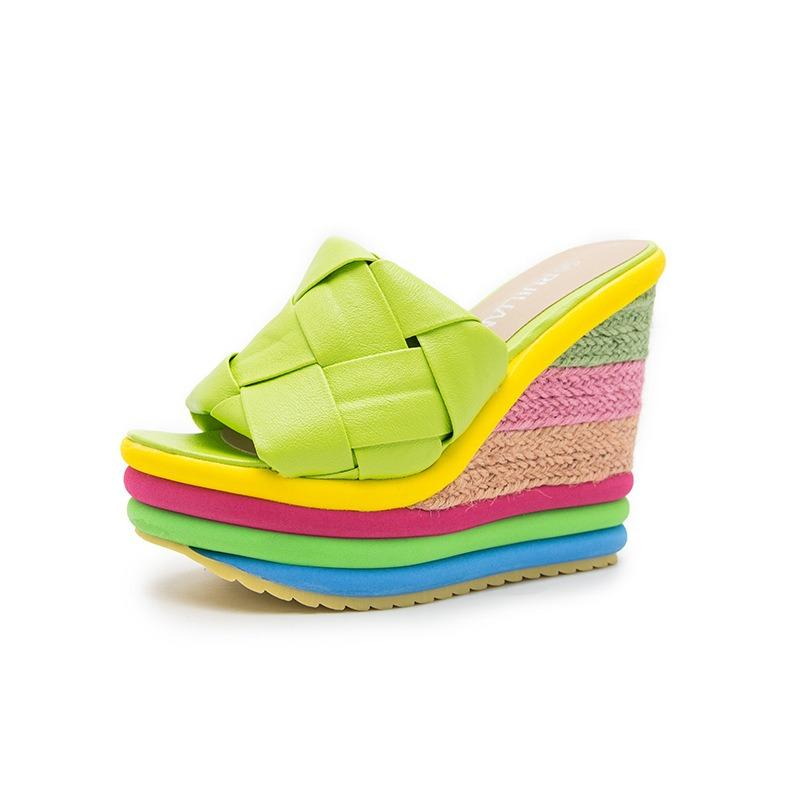 SPONGEY  ESPANRILLE WEDGE SANDALS GREEN