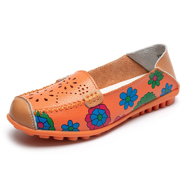 FLORAL LEATHER LOAFERS MOCCASINS ORANGE