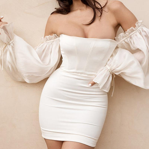 OFF-SHOULDER LANTERN SLEEVE TUBE TOP DRESS