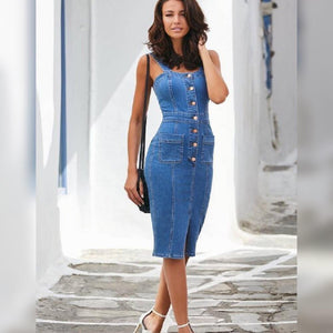 SLIM DENIM BUTTON FRONT DRESS