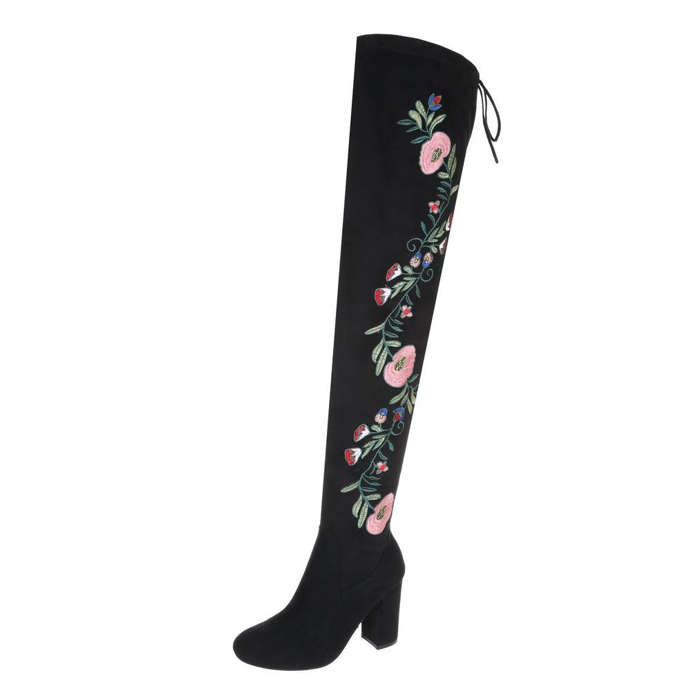 FLORAL SUEDE THIGH HIGH BOOTS