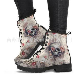 BRUNEL RETRO SKULL LACE UP BOOTS