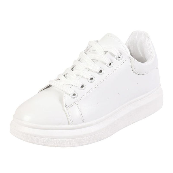 WHITE LACE UP THICK SOLE TRAINERS