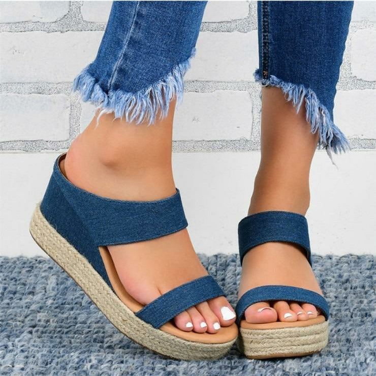 OXFORD WEDGE SANDALS BLUE