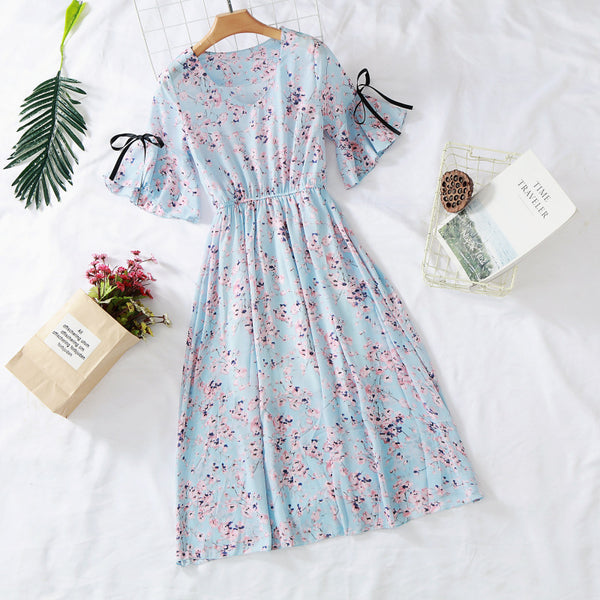 CHIFFON V-NECK FLORAL DRESS