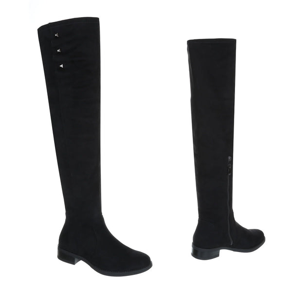 BLACK FLAT SUEDE KNEE HIGH BOOTS