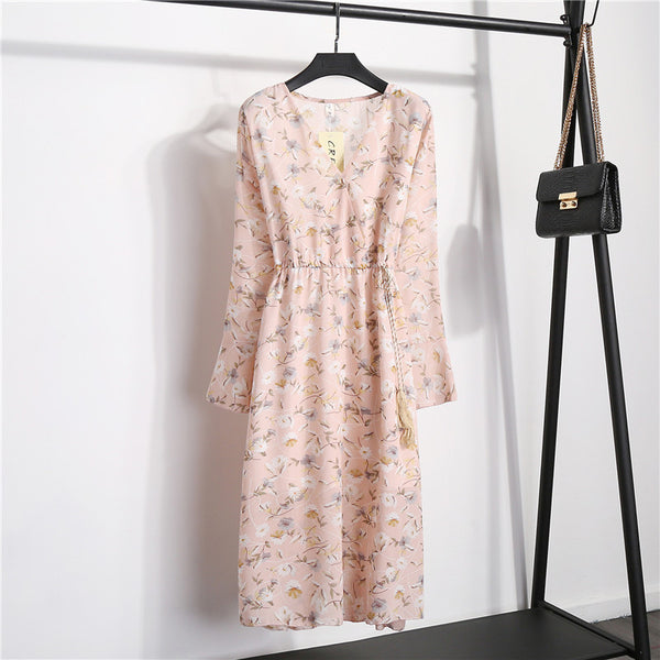 FLORAL CHIFFON V-NECK ELASTIC WAIST MIDI DRESS