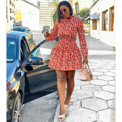 RED LONG-SLEEVE PRINTED TIERED MINI DRESS