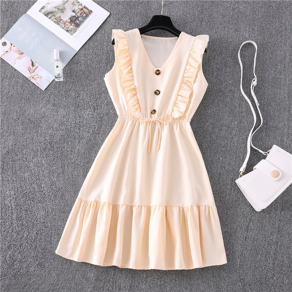 V-NECK RUFFLED LACE-UP DRESS