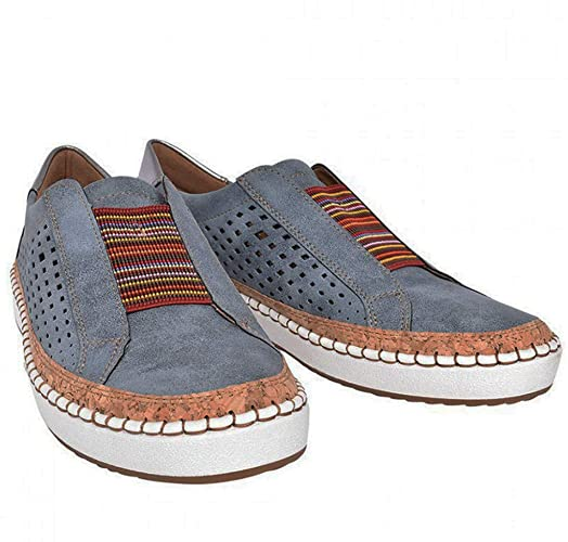KAMMY HOLLOW OUT FLAT LOAFERS SPLICING SNEAKERS -BLUE