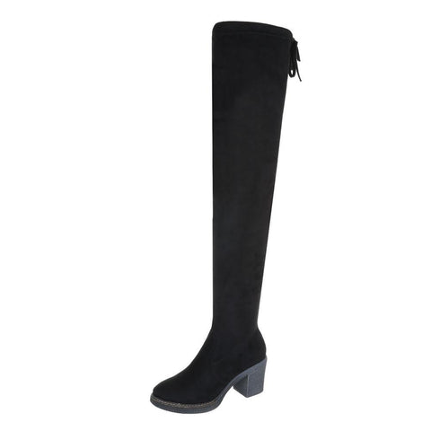 CHUNKY SOLE SUEDE THIGH HIGH BOOTS